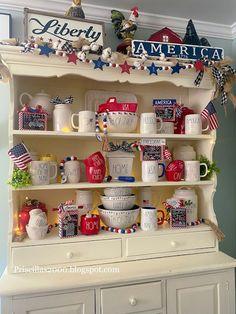 Priscillas: The Patriotic kitchen Hutch Attic 24, Book Page Wreath, Patchwork Heart, Kitchen Hutch, Diy Chalkboard, Flower Market, Hello Summer, 1st Christmas, Chalk Art