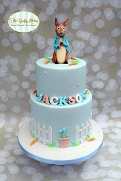 Peter Rabbit Birthday cake - Cake by The Crafty Kitchen - Sarah Garland 2 Tier Birthday Cakes, Birthday Cake Kids Boys, Bunny Birthday, Birthday Ideas, Beatrix Potter Cake, Picnic Cake, Peter Rabbit Cake, Baby Boy Cakes, Types Of Cakes