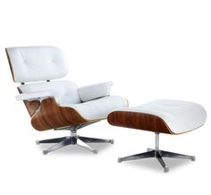 Classic Lounge Chair U0026 Ottoman White With Chrome Base