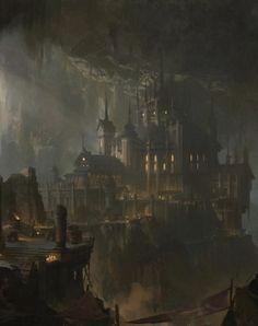 campaign environment CyberClays - by Eart CG Concept Art Landscape, Fantasy Art Landscapes, Fantasy Concept Art, Fantasy Landscape, Dark Fantasy Art, Fantasy Artwork, Landscape Art, Fantasy City, Fantasy Castle