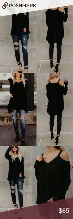 """Black Cold Shoulder Thermal Frayed High Low Sweate ❣️PREORDER❣️Black Cold Shoulder Thermal Frayed High Low Sweater  Model is 5'7"""" and wears a Small/ Medium  No Trades Glamvault Sweaters"""