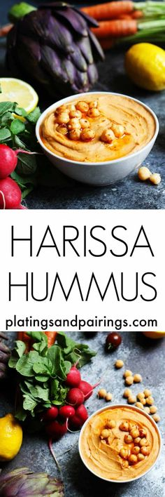 This Harissa Hummus is smoky, spicy and tangy. A perfect party dip!   http://platingsandpairings.com