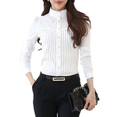 Women's Plus Size Shirt - Solid Colored Lace Stand White XXL / Spring / Fine Stripe - Small Magazine Plus Size Shirts, Winter Blouses, Top Streetwear, Cheap Womens Tops, Blouse Designs, Blouses For Women, Plus Size Women, Ideias Fashion, Street Wear