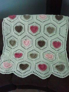 Crochet Hearts Baby Blanket