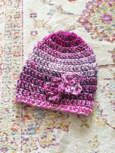 Pink Crochet Hat - Pink Knitted Child Hat - Pink Girl Hat - Pink...
