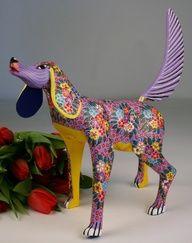 Oaxacan Wood Carving Maria Jimenez Large Momma Dog