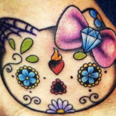 Hello kitty day of the dead tattoo. Got it on my right foot, and I love it <3