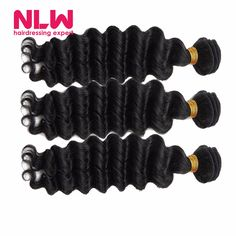 Deep Wave Malaysian Curly Hair Weaving Malaysian Deep Wave Virgin Hair 3 Bundles for Black Women Wet and Wavy Human Hair Bundles-in Human Hair Extensions from Health & Beauty