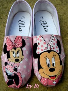 Custom order Hand painted Minnie Mouse shoes for by ArtByBi, Painted Canvas Shoes, Painted Toms, Custom Painted Shoes, Painted Sneakers, Hand Painted Shoes, Custom Shoes, Creative Shoes, Ballerinas, Toms Shoes Outlet