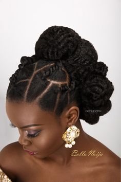 """""""You can work with what you got or add a little something to pump it up!"""" - Dionne International award winning bridal hair specialist, Dionne Smith just - BellaNaija Weddings. New Natural Hairstyles, Natural Hair Updo, Natural Curls, Natural Hair Care, Natural Hair Styles, Simple Hairstyles, African Hairstyles, Girl Hairstyles, Braided Hairstyles"""