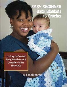 Bonnie Bay Crochet - Bonnie's Books Crochet Baby Blanket Tutorial, Crochet Baby Blanket Beginner, Baby Girl Crochet Blanket, Easy Baby Blanket, Baby Blankets, Minky Blanket, Quick Knits, Video Tutorials, Amazon