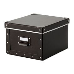 FJÄLLA Box with lid IKEA Suitable for storing chargers, remote controls, USB drives, and desk accessories. Easy to pull out as the box has a handle.