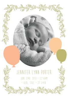 Birth Announcement- peach balloons & leafy garland via Etsy