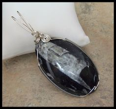 Large Orthoceras Fossil Silver-Black Wired Pendant by timelessdesigns07 on Etsy