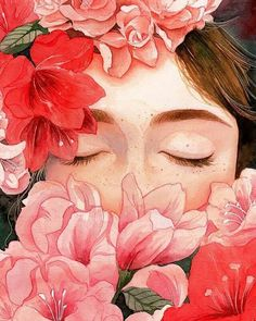 Find images and videos about girl, art and flowers on We Heart It - the app to get lost in what you love. Watercolor Girl, Watercolor Portraits, Watercolour Painting, Watercolor Flowers, Art And Illustration, Art Challenge, Flower On Head, Anime Boy Zeichnung, Types Of Art