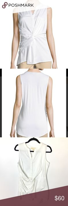 NEW Michael Kors Women's White Twist-front Blouse Michael michael kors blouse in stretch-poplin with jersey back.  Split neckline; hidden button front.  Sleeveless.  Twist-front detail.  Semi-fitted silhouette.  High-low hem.  Cotton/spandex.  Machine wash.  Color: white  BRAND NEW WITH TAGS Bundle and Save! 💰Offers Welcome!   12061M MICHAEL Michael Kors Tops Blouses