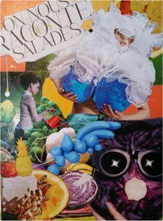 """Tableau """"On nous raconte des salades"""" Collage réalisé uniquement parce que j'avais envie d'un peu d'humour dans ce foutoir...  Dimension toile : 33 x 41 cm"""