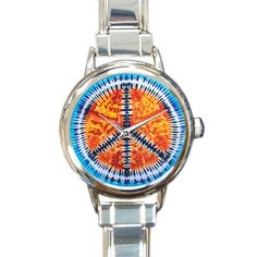 Personalized Watch Special Peace Sign and Symbol Tie Dye Pattern Round Italian Charm stainless steel Watch ** New and awesome product awaits you, Read it now  : Travel Gadgets