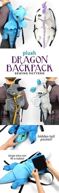 New Shop Pattern! Dragon Backpack Plush Choly Knight is part of Backpack sewing - Sewing Tutorials, Sewing Hacks, Sewing Patterns, Sewing Basics, Sewing Toys, Sewing Crafts, Knitting Projects, Sewing Projects, Knitting Bags