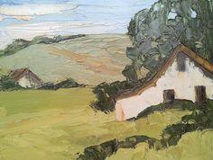 Landscape Art Impressionist Painting COUNTRY FARM BARN Lynne French 11x14. $62.00, via Etsy.