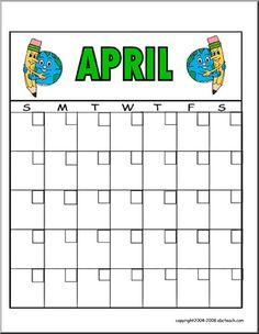 FREE printable April calendar | abcteach