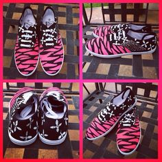 SALE Today Only Pink Zebra print painted shoes Hand painted pink zebra print lace up shoes Shoes