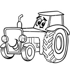 Tractor Cartoon For Coloring Book On VectorStock