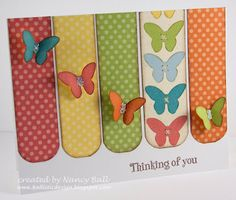 Love the polka dot strips, the column of printed/stamped butterflies & the staggered flitting butterflies. Nancy's CRAFTY blog: Butterflies and Dotty For You using CTMH. (May'13) #moderate, #spring