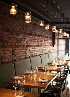 cafe restaurant Love the tables and historic exposed brick.great atmosphere at LABATTOIR, VANCOUVER Cafe Restaurant, Restaurant Vintage, Restaurant Seating, Restaurant Lighting, Cafe Bar, Restaurant Ideas, Italian Restaurant Decor, Restaurant Banquette, Industrial Restaurant