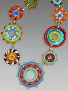 Circus Necklace: handmade glass lampwork by LisaInglertJewelry
