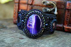 Black Purple Bracelet Bead Embroidered cuff Beadwork Bracelet Beads Embroidery…