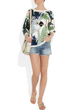 Paul & JoePampana parrot-intarsia cotton sweater