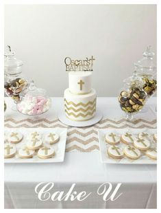 White and Gold Baptism Cake and Cookies.