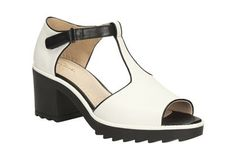 Womens Casual Sandals - Genevie Bubble in White Combi Leather from Clarks shoes Again - widest fit is an E. I like the look of the the soles as a 'crepe' or 'rubber' helps keep you on your feet for longer - as a rule!