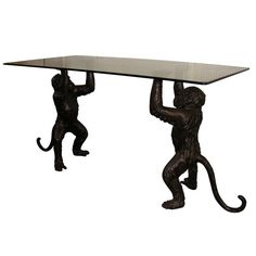 1980s Console Table Supported by Two Bronze Monkeys