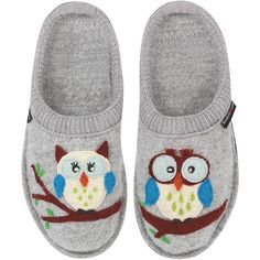 This Uniquely Soft Boiled Wool Slipper Is Designed With A Owl Design Appliqué…