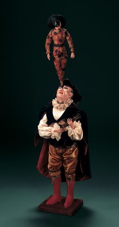 "French Musical Automaton ""Harlequin Pirouetting on Troubadour's Nose"" by Roullet et Decamps"
