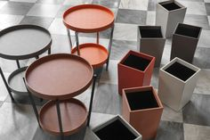 Side tables that turn into treys and super chic trash bins because even a trash bin needs to be cute!