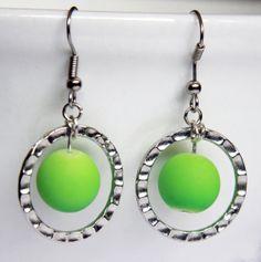 "Stirling Silver Dangle Earrings. Lime Green Round Drops. Bright Green Round Drops Circled in Round Hammered Stirling Silver. ""Green Droplas"""