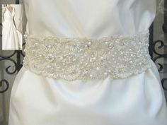 with pearls!! Beaded Bridal Wedding Sash Belt 7 cm with pearls by gebridal, $50.00