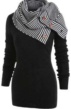 online shopping for Newnessshop Pullover Sweater Women Buttons Crew Neck Long Sleeve Sweater Winter Knitting from top store. See new offer for Newnessshop Pullover Sweater Women Buttons Crew Neck Long Sleeve Sweater Winter Knitting Black Sweaters, Sweaters For Women, Oversized Sweaters, Legging Court, Mini Vestidos, Striped Scarves, Look Fashion, Fashion Site, Mens Fashion