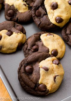 An intense chocolate fudge cookie with dark chocolate chips mixed with a soft peanut-butter-overloaded cookie and MORE dark chocolate chips.