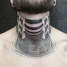 Creepy Throat Optical Illusion Tattoo - http://www.moillusions.com/creepy-throat-optical-illusion-tattoo/
