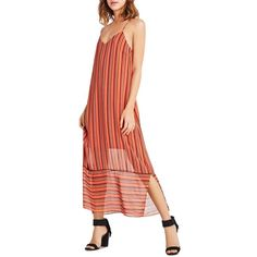 BCBGeneration Stripe Slip Maxi Dress ($52) ❤ liked on Polyvore featuring dresses, cardinal multi, maxi slip dress, colorful dresses, slip dress, multi-color dress and colorful maxi dress