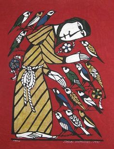 Sadao Watanabe, St Francis and the birds (red)
