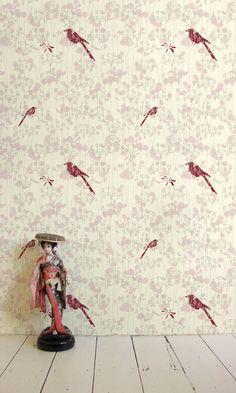ElliPOpp_bebe_rose by Design*Sponge/Grace Bonney, Bird Wallpaper, Colorful Wallpaper, Rose Background, Meet The Artist, City Style, Designer Wallpaper, Beautiful Birds, Wallpapers