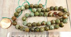 Rhyolite Faceted Round Beads 8mm Earthy Stone by StoneWingSupplies