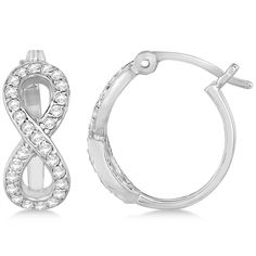 Dazzle her beyond a doubt with this pave diamond hinged back infinity earrings in white gold. Browse fine jewelry and diamonds at Allurez. Infinity Earrings, Diamond Hoop Earrings, Diamond Studs, Stud Earrings, Designer Earrings, Colored Diamonds, Fine Jewelry, White Gold, Bling
