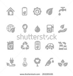 Set of eco energy icons with nuclear  and solar power  electric car  recycling  eco light bulb  maize  biofuel  rechargeable battery, a green house - stock vector