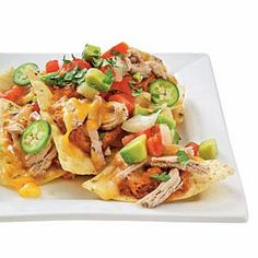 Pork and Pinto Bean Nachos -- This would be good, but not with pintos. This has black beans written all over it baby!